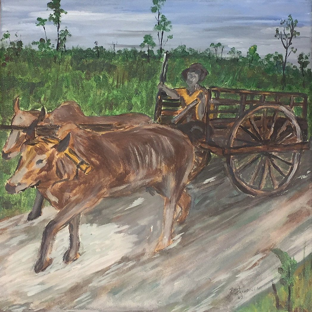 Vietnamese Ox Farmer with Cart 1970
